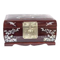 Vintage Asian Jewelry Box with Abalone Shell Inlay