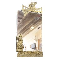 Antique Art Nouveau 19th C. Gold Gilt Scalloped Mirror