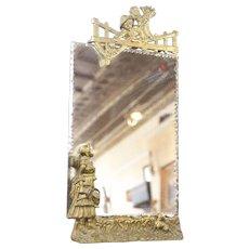 Antique Art Nouveau 19th C. Gold Gilt Scalloped Mirror
