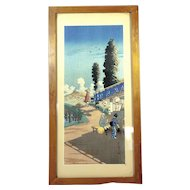 Vintage Japanese Wood Block Print with Mountains