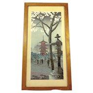 Vintage Japanese Woodblock Print Winter Street Scene