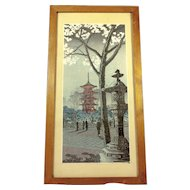 Vintage Japanese Woodblock Print Winter Street Scene
