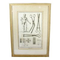 Framed 18th c. Medical Engraving Print Surgical Engraving