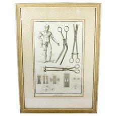 Framed 18th c. Medical Engraving Print Surgical Engraving