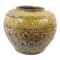 Antique 19th Century Thai Pottery Olive Green Sunburst Floral Motif Vessel