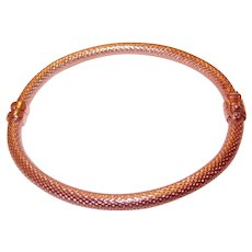 925 Sterling with Rose Gold Plating textured Bangle Bracelet