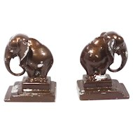 Vintage Art Deco Elephant Bookends