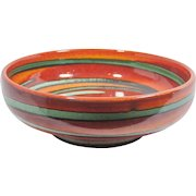 Mid-Century Modern Pottery, Colorful Glazed Swirl Bowl, MCM pottery, MCM art, orange turquoise pottery