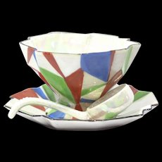 Art Deco Sauce Bowl Gravy Bowl with Saucer and Ladle Lusterware Made in Japan