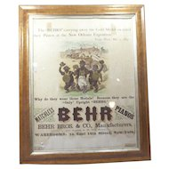 Vintage Framed Behr Bros Piano Print