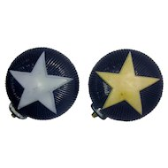 Vintage 1927 Star Christmas Light Pair, cobalt blue, Star of Bethlehem, Texas star, Vintage German Glass, Made in Germany in 1927-Untested