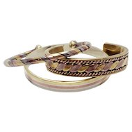Metales Casadas Married Metal Tri Color Copper Brass Silver Bracelets Cuffs Gift Set Of Three