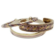 Metales Casadas Married Metal Tri Color Copper Brass Silver Bracelets Cuffs Gift Set Of Three