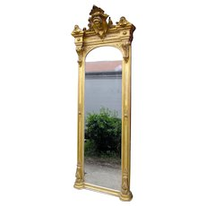 1820 Antique Renaissance Revival Gold Gilt Pier Mirror With Bust of Columbia