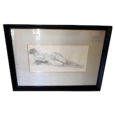 Vintage Art Deco 1930s Nude Portrait Pencil Drawing Life Figure Study Signed and Framed Art Piece Female Portraiture Early 20th Century