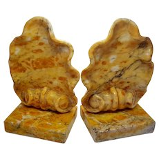Pair Peach Italian Carved Shell Ocean Nautical Book Ends Bookends