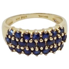 Three Row Sapphire 10k Yellow Gold Ring Size 7