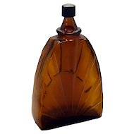 Art Deco Apothecary Sunrise Medicine Bottle Cologne Perfume Dark Brown Bottle