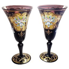 Pair of Venetian Amethyst Glass Hand Painted Floral Gold Gilt Glasses Stemware Wedding Bridal Toast Glasses
