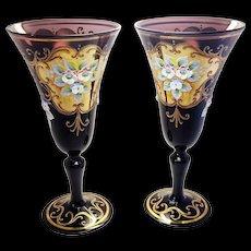 Pair of Venetian Amethyst Glass Hand Painted Floral Gold Gilt Glasses Stemware Wedding Bridal Toast Glasses