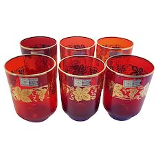 Czechoslovakian Bohemian Red Glass With Applied Gold Grape Leaf Design Glassware Set of 6
