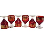 Czechoslovakian Bohemian Cordials Applied Gold Grapevine Small Red Drinking Shot Glasses Set Of 6