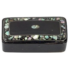Antique 19th c. Paper Papier Mache Abalone Inlaid Snuff Box