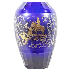 Vintage Cobalt Blue Moser Glass Crystal Vase Don Quixote   Bohemian Czechoslovakian Glass Vase