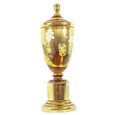 Vintage Amber Bohemian Glass Vase
