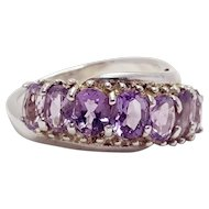 Sterling Silver Amethyst Wave February Birthstone Ring Size 7