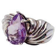 Sterling Silver And Amethyst Purple Teardrop Statement Puffy Silver Ring Size 6
