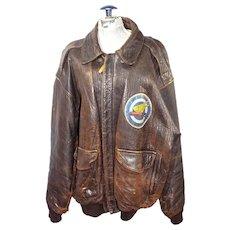 Vintage Leather Avirex Military Aviator Bomber Jacket