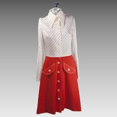 Vintage 50s Style Rockabilly Button Down Red And White Polka Dot Dress Womens clothing