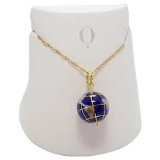 Vintage Michael Anthony 14K Globe World Charm necklace Lapis Inlay charm globe pendant necklace