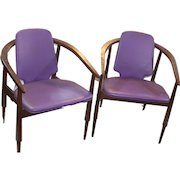 Pair of Mid Century Modern Walnut Kodawood Ultra Violet Purple Leather Chairs