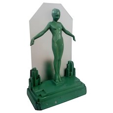 Original Frankart Art Deco Lady Lamp, Nude Girl, Figural Lamp Light