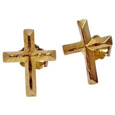 Michael Anthony 14k Gold Small Delicate Yellow Gold Cross Post Earrings With Butterfly Backs Christening Earrings, Communion Earrings, Confirmation Earrings