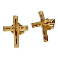 Michael Anthony 14k Gold Yellow Gold Cross Post Earrings