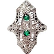 18k White Gold Art Deco Engagement Ring, Long Art Deco Ring, 9 Diamonds and 2 Emeralds, Size 6
