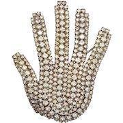 Dorothy Bauer Rhinestone Hand Brooch Pin
