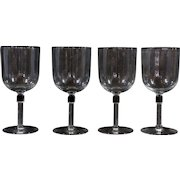 Set of 4 Crystal Wine Glasses With Column Stem Water Goblets Stemware