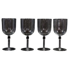 Set of 4 Wine Glasses With Column Stem Water Goblets Stemware