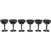 Set of 6 Crystal Champagne Coups With Column Stems Wine Glasses Cordials Stemware.