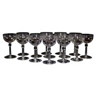 Set of 8 Wine Glasses,Cordials .Champagne Coupes, Stemware, wedding, bridal