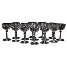 Set of 8 Crystal Wine Glasses,Cordials .Champagne Coupes, Stemware, wedding, bridal