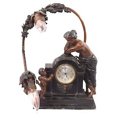Vintage Art Nouveau Clock Lamp with Cherub and Woman