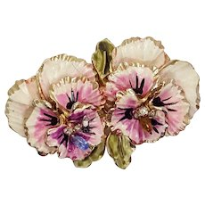 Coro Enameled Double Pink Pansy Flower Brooch, Flower Power Pin, Pansy Brooch