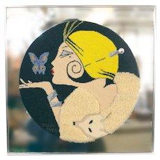 Vintage Art Deco Style Needlepoint Mirror