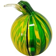 Oggetti Italian blown Glass Green and Yellow Kiwi Bird, Penguin, Glass Animal Sculpture