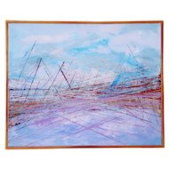 """Vintage Mid Century Abstract """"Bridge"""" Painting, Colorful Painting, Statement Painting, Acrylic on Canvas"""